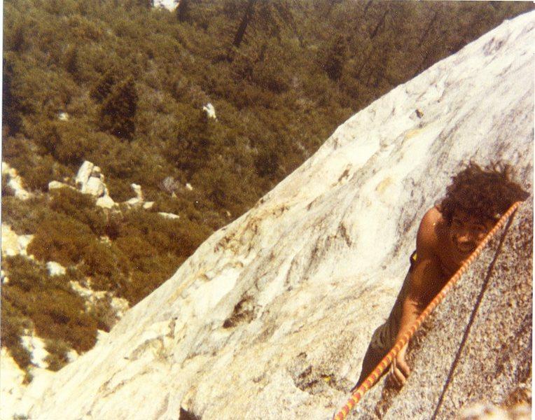 Bruce Diffenbaugh on Ski Tracks '81 or '82 peeking around the step around.