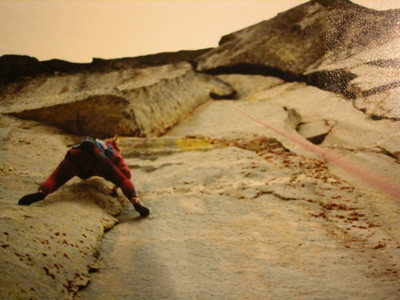 Jill Mattern following UNI, 5.12a.  The first 5.12 on Chimney rock.  F/A D. Burns and Jill Mattern summer '88
