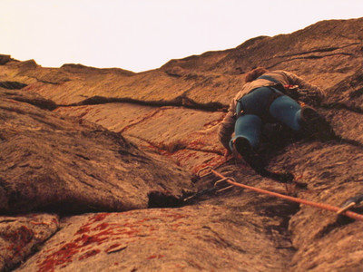 Max Dufford on ther crux pitch of Yahoody, 5.11b.  F/A Dane and Darcy Burns, 1980.