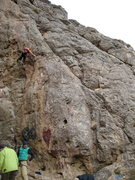 Rock Climbing Photo: Unnamed 5.10, follows the crack just right of the ...