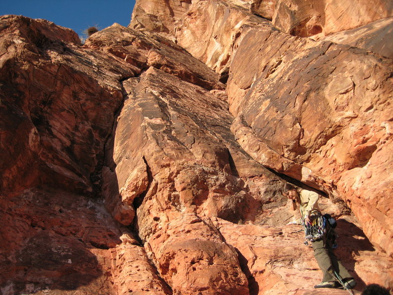 Rock Climbing Photo: Jody is on Route to Mecca, Treacherous Journey is ...