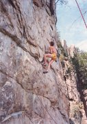 Rock Climbing Photo: Doug Reed on FA of Black Flag Direct 5.13?