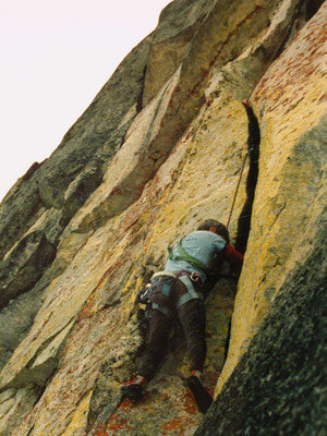 Just off the hanging belay taken from the 2nd belay ledge on FFs.  Both taken during the 1st ascent.