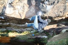 Rock Climbing Photo: Mike mid way through the crux section of the Cave ...