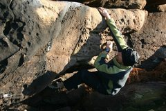 Rock Climbing Photo: Chris starting the leftwards traverse on the round...