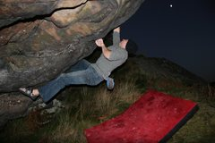 Rock Climbing Photo: Mike gets in one last problem in under moonlight.