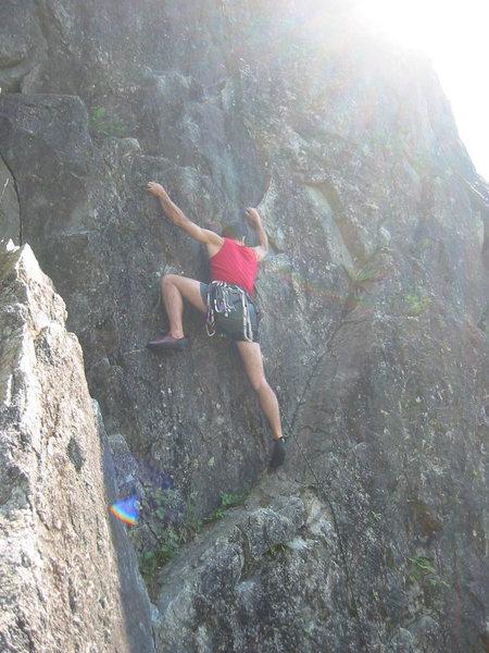 Rock Climbing Photo: Tony starting up Lust, I think.