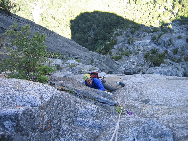Brad on P3 (or4?) of the Chouinard-Herbert on Sentinel Rock A cool 10a undercling traverse