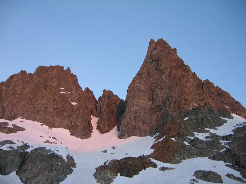 Rock Climbing Photo: Sunrise at the Base of Clyde's Minaret,Sierra
