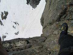 Rock Climbing Photo: A few pitches up on Clyde Minaret, looking down in...