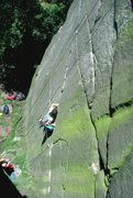 Rock Climbing Photo: Moving through the crux of Fern Hill, 5.10c