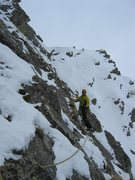 Rock Climbing Photo: Easy mixed pitch after the ice pitch with the roof...