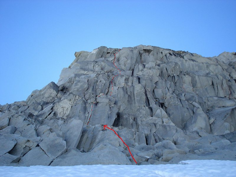The East Face of the Middle Gunsight, as viewed from the Blue Glacier. The face looks extremely distorted from this angle.