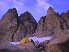 Rock Climbing Photo: The North, Middle, and South peaks, from the West.