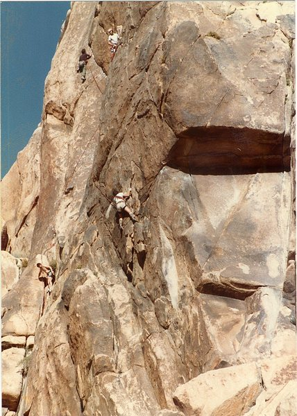 Me belaying Bruce Diffenbaugh on Moosedog Tower Indian Cove.