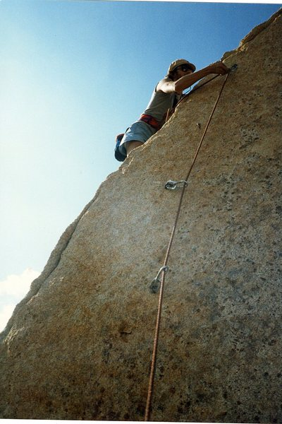 "Me on the FFA of ""Ballbearings Under Foot 5.10a""."