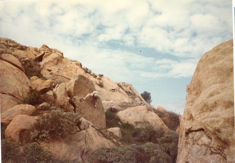Bruce Diffenbaugh barefoot bouldering around Big Rock.