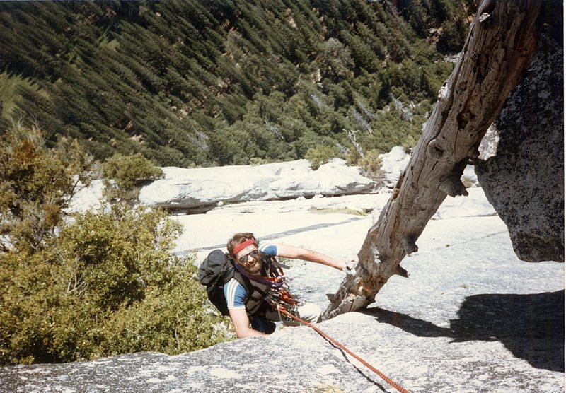 Rock Climbing Photo: My brother Doug Odenthal on the shaky rotten log t...