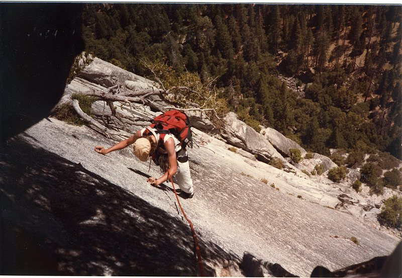 Rock Climbing Photo: Me on the traverse across and up to where the log ...