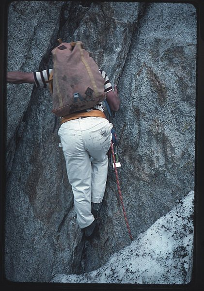 Rock Climbing Photo: Doug Robinson starting up the first pitch of Centr...