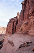 Rock Climbing Photo: Ben on the bench that accesses the start of the ro...