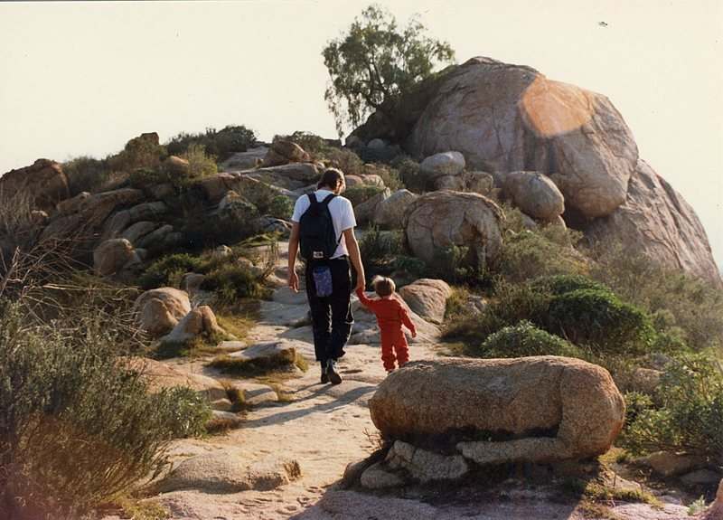 Rock Climbing Photo: My son Dylan and I walking towards Joe Brown.