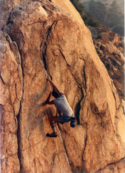 Me solo on Tissack on Half Dome boulder.