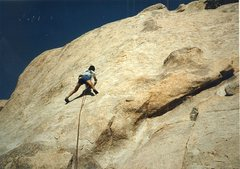 Rock Climbing Photo: On the FA. Rob Mulligan drilling the first bolt on...