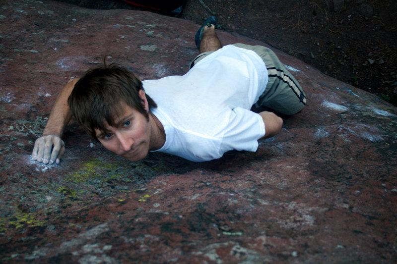 "Rock Climbing Photo: Matt Garvin preparing for the ""big"" move..."