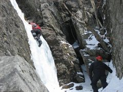 Rock Climbing Photo: My first time climbing ice... hence the bad techni...