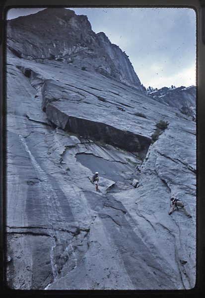 Doug Robinson and Bruce Diffenbaugh coming down off Glacier Point Apron.