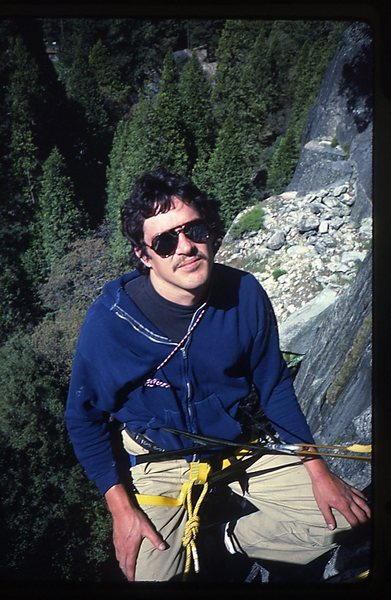 Bruce Diffenbaugh hanging at a belay on Bishops Terrace.