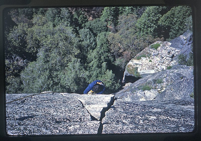 Rock Climbing Photo: Bruce Diffenbaugh approaching the belay on Bishops...