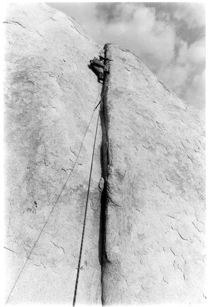 Rock Climbing Photo: Me at the crux, with Rob shooting photos while bel...