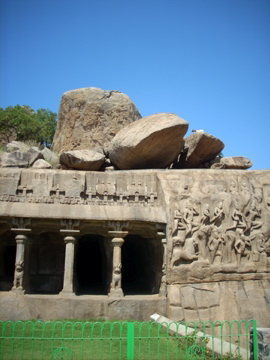 Mamallapuram bouldering, India's East Coast.  5th & 7th Century carvings . . . notice the goat on top?  Lots-o-boulders in the park to the right of this spot.