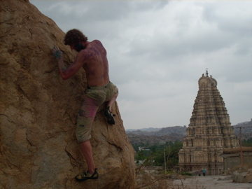 Hampi bouldering during Holi Festival . . . crispy edges.
