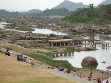 The river that splits the 2 sides of Hampi . . . the far side is way laid back and relaxed.  A true dream world.  Get there before it's ruined.