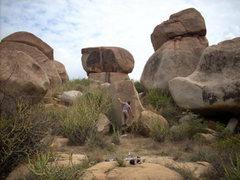 Rock Climbing Photo: Balancey/technical face/arete.  Hampi, India.