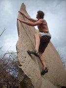 Rock Climbing Photo: Razor arete, perfect stone, Hampi, India.