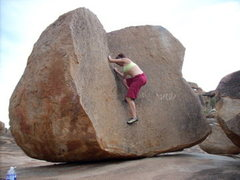 Rock Climbing Photo: Colie exploring a rounded dihedral in Hampi, India...