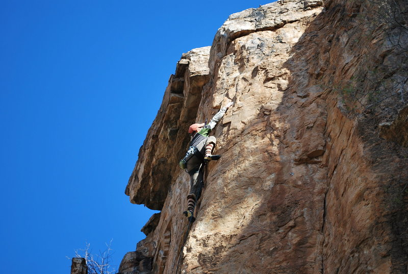 Rock Climbing Photo: At the last bolt.  Don't be jealous of my home-mad...