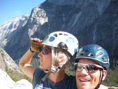 Rock Climbing Photo: On Dinner Ledge w/ Half Dome and Cloud's Rest in t...