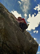 Rock Climbing Photo: Cleaning the top out of a V? hard project in Ten M...