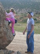Rock Climbing Photo: Teaching my niece to boulder at Unaweep Canyon, CO