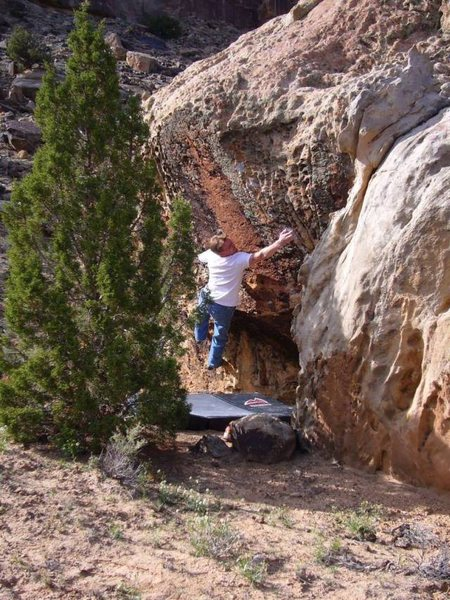 "FA of ""The Dakota River Forge"" V7 at Unaweep Canyon, CO"
