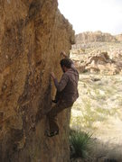Rock Climbing Photo: Crimping on the last holds of BP2 before a dynamic...