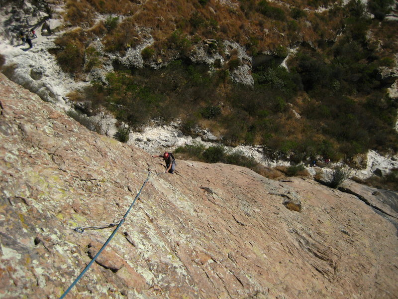 leon islas seconding the first long (linked) pitch of bernalina