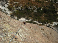 Rock Climbing Photo: leon islas seconding the first long (linked) pitch...