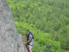 Rock Climbing Photo: Me exiting Toe Crack and entering the traverse to ...