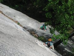 Rock Climbing Photo: Me on lower slab and Uncle G on the awesome hand c...